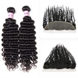 UNice 3pcs Jerry Curly Hair Weft With Lace Frontal Closure