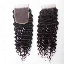 UNice Virgin Human Hair 4 Bundles Deep Wave Hair With Lace Closure