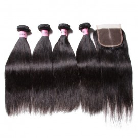 UNice Hair Icenu Series Peruvian Straight Virgin Hair With Closure 4 Thick Bundles