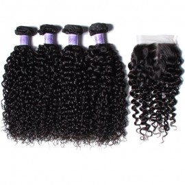 UNice Hair Kysiss Series 8A Brazilian Jerry Curly 4 Bundles With Closure