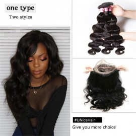 3 Bundles Body Wave Virgin Hair With 360 Lace Frontal Closure