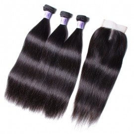 UNice Hair Kysiss Series 100% Malaysian Straight Virgian Hair 3 Bundles With Closure