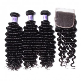 UNice Hair Kysiss Series Best Brazilian 3 Bundles Deep Wave With Lace Closure