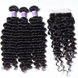 UNice Hair Kysiss Series Malaysian Quality 3pcs Deep Wave Hair With Lace Closure
