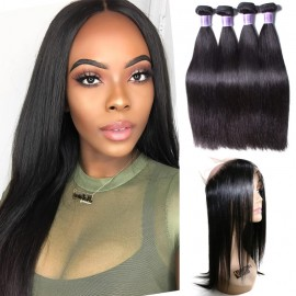 UNice Hair Kysiss Series Straight Virgin Hair 4 Bundles With 360 Lace Frontal Closure