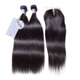 UNice Hair 8A Kysiss Series Indian 4 Bundles Straight Hair With Closure
