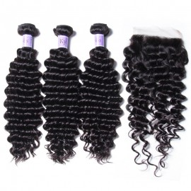 UNice Hair Kysiss Series 100% Peruvian Deep Wave 3pcs Virgin Hair Extension With Closure
