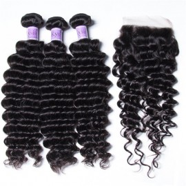UNice Hair Kysiss Series Indian Huamn Hair Deep Wave 3 Bundles With Closure
