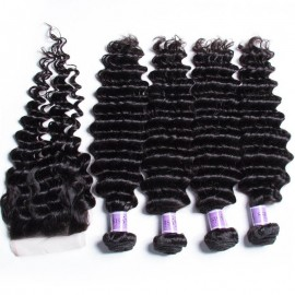 UNice Hair Kysiss Series Peruvian 4 Bundles Deep Wave Virgin Hair With Lace Closure