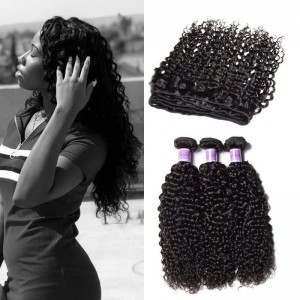 Unice Hair Kysiss Series Jerry Curly 3 Bundles Of Indian Human Virgin With Closure