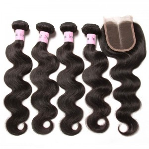 UNice Hair Icenu Series 4 Bundles Indian Body Wave Hair Weft With Closure