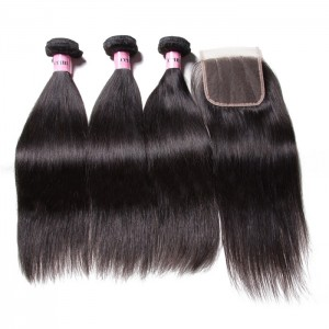UNice Hair Icenu Series Lace Closure With Indian Straight Hair 3 Bundles