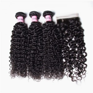 UNice Hair Icenu Series 3pcs Malaysian Jerry Curly Hair Wefts With Closure