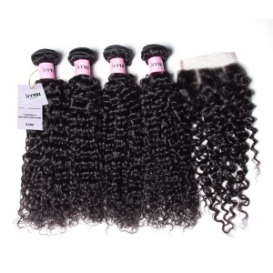 UNice Hair Icenu Series 100% Human Hair 4 Bundles Virgin Jerry Curly Hair With Lace Closure