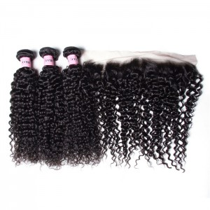 UNice Hair Icenu Series 3pcs Jerry Curly Hair With 13*4 Inch Ear To Ear Lace Frontal Closure