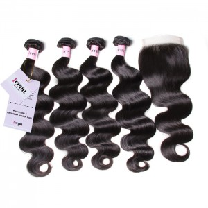 UNice Hair Icenu Series Body Wave Lace Closure With 4pcs Virgin Hair Bundles