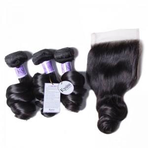 UNice Hair Kysiss Series 100% Peruvian Loose Wave 3pcs Virgin Hair With Closure