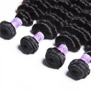 UNice Hair Kysiss Series Brazilian Deep Wave Hair Extensions Human Hair Bundles 4pcs/Lot