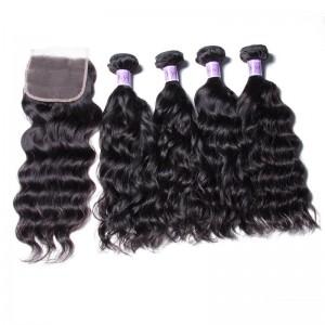 UNice Hair Kysiss Series Peruvian Wholesale 4 Bundles Natural Wave Virgin Hair With Closure