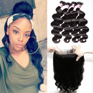 UNice Hair Icenu Series Body Wave 360 Lace Closure With 4pcs Virgin Hair Bundles