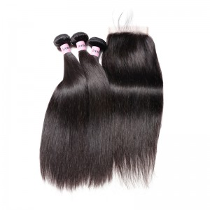 UNice Hair Icenu Series 5*5 With Baby Hair Straight Hair Lace Closure With 3 Bundles Straight Hair