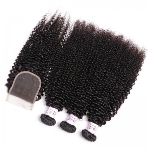 UNice Hair Icenu Series Best Cheap 7A Kinky Curly Virgin Hair 4x4 inch Lace Closure With 3 Bundles Virgin Hair
