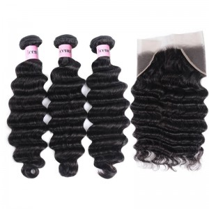 UNice Hair Icenu Series 3 Bundles Loose Deep Wave Virgin Human Hair With Frontal Closure