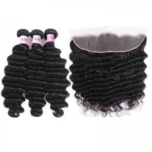 3 Bundles Loose Deep Wave Virgin Human Hair With Frontal Closure