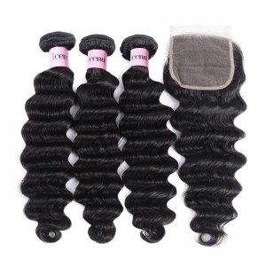 3 Bundles Loose Deep Wave Virgin Human Hair With Lace Closure