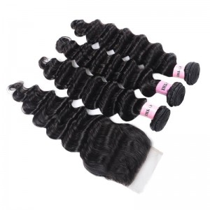UNice Hair Icenu Series 3 Bundles Loose Deep Wave Virgin Human Hair With Lace Closure