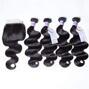 UNice Hair Kysiss Series 4 Bundles 8A Grade Malaysian Body Wave Virgin Hair With Lace Closure