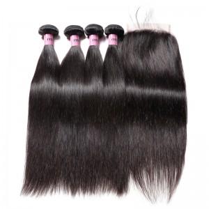 UNice Hair Icenu Series 7A Virgin Hair 4 Bundles Straight Virgin Hair With 5x5 Lace Closure
