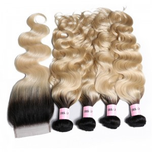 UNice 4 Bundles T1b/613 Ombre Blonde Body Wave Hair With 4x4 Lace Closure Free Part