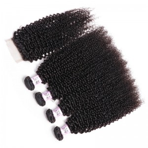 UNice Hair Icenu Series 4 Bundles Virgin Hair Kinky Curly With 4x4 inch Lace Closure