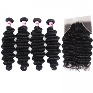 UNice Hair Icenu Series 4 Bundles Loose Deep Wave Cheap Human Hair With Frontal Closure On Sale