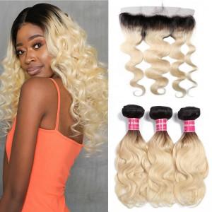 UNice Virgin Hair Ombre Color 1B/613 Bundles Deals 3 PCS With 13x4 Lace Frontal Closure