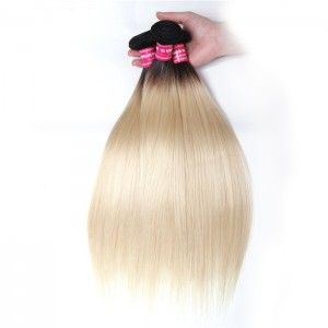 UNice Straight Hair 3 Bundles T1b/613 Color Ombre Hair 100% Virgin Human Hair Weaves