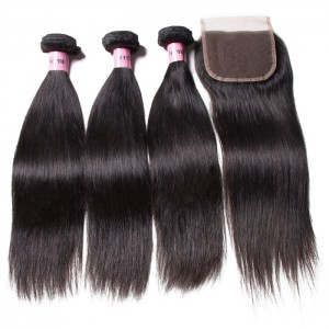 UNice Hair Icenu Series High Quality Lace Closure With Straight Hair 3 Bundles