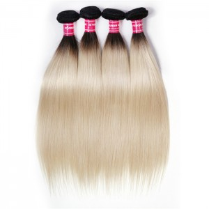 UNice Hair 1B/613 Honey Blonde Straight Virgin Human Hair 4 Bundles Ombre