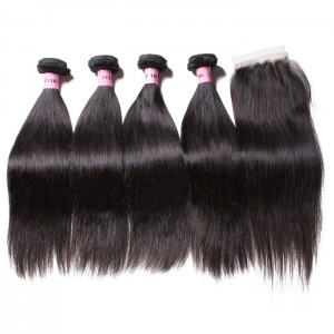 UNice Hair Icenu Series 4pcs Indian Straight Hair With Closure