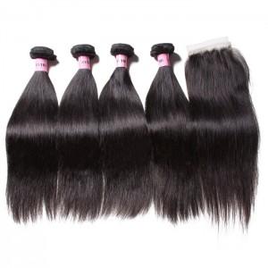 UNice Hair Icenu Series 4 Bundles Straight Virgin Hair With 4*4 Lace Closure