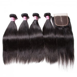 UNice Hair Icenu Series Malaysian Straight Virgin Hair With 3 Part Lace Closure