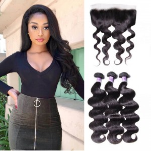 UNice Hair Kysiss Series 100% Virgin Hair Body Wave 4pcs With Lace Frontal Closure