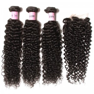 UNice Hair Icenu Series 3 Bundles Brazilian Jerry Curly Hair Weave With Closure
