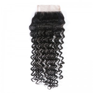 UNice Virgin Hair Closure Free Part Deep Wave Lace Closure