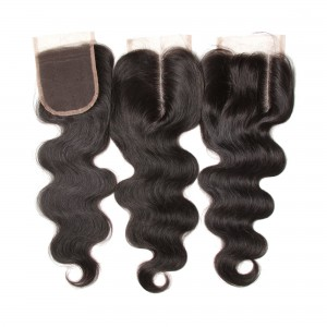 UNice Body Wave Hair Closure Three part Middle Part and Free Part