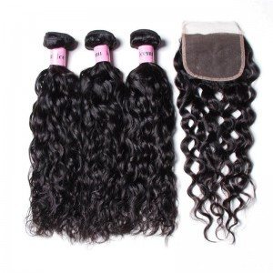 UNice Hair Icenu Series 3 Pcs Water Wave Virgin Hair With Lace Closure 4*4 Human Hair Closure Free Part