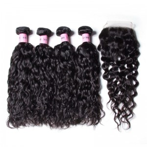 UNice Hair Icenu Series Hair 4 Bundles Water Wave Virgin Hair With 4*4 Inch Lace Closure Free Part Closure