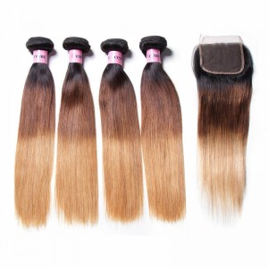 UNice Hair Icenu Series Virgin Human Hair 4 Bundles T1B/4/27 Ombre straight Hair With Lace Closure