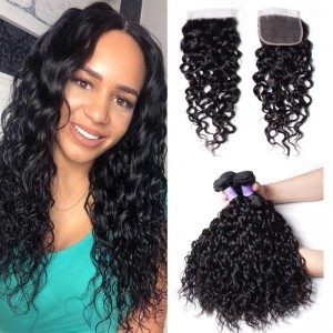 Kysiss Series 3 Pcslot Malaysian Unprocessed Virgin Hair Water Weaves With Lace Closure